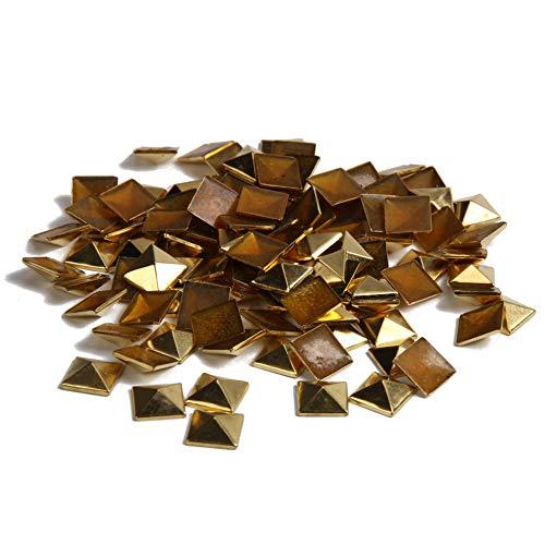 """Hotfix Iron On,7X7mm Flat Back Pyramid Studs - 1/4"""" Flatback Glue on Studs 100pcs(Gold, Pyramid 7x7mm)"""