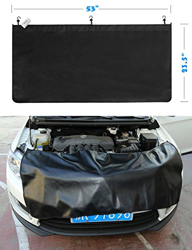 "OZUZ Premium 23.5"" X 53"" 6ct Black Magnetic and 3ct Hooks Fender Cover Protector Gripper Automotive Mechanic Work Mat with Heavy Duty Pvc Material"