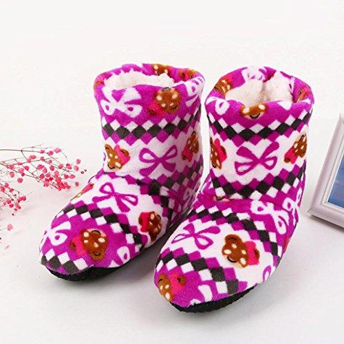 Lanhui Dames Dames Katoenen Warme Indoor Pantoffels Zachte Pluche Kerstsokken Hot Pink
