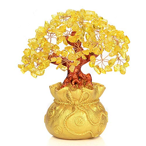 Crystal Tree Frog - Feng Shui Yellow Crystal Money Tree in Money Bag Bonsai Style Decoration for Wealth and Luck(M)