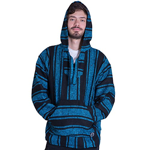 (Orizaba Original Baja Hoodie Drug Rug - Light Blue Black Classic - Shasta 2XL )