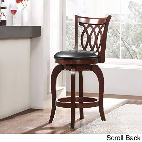 Inspire Q Verona Cherry Swivel 24-inch High Back Counter Height Stool by Classic Black Scroll