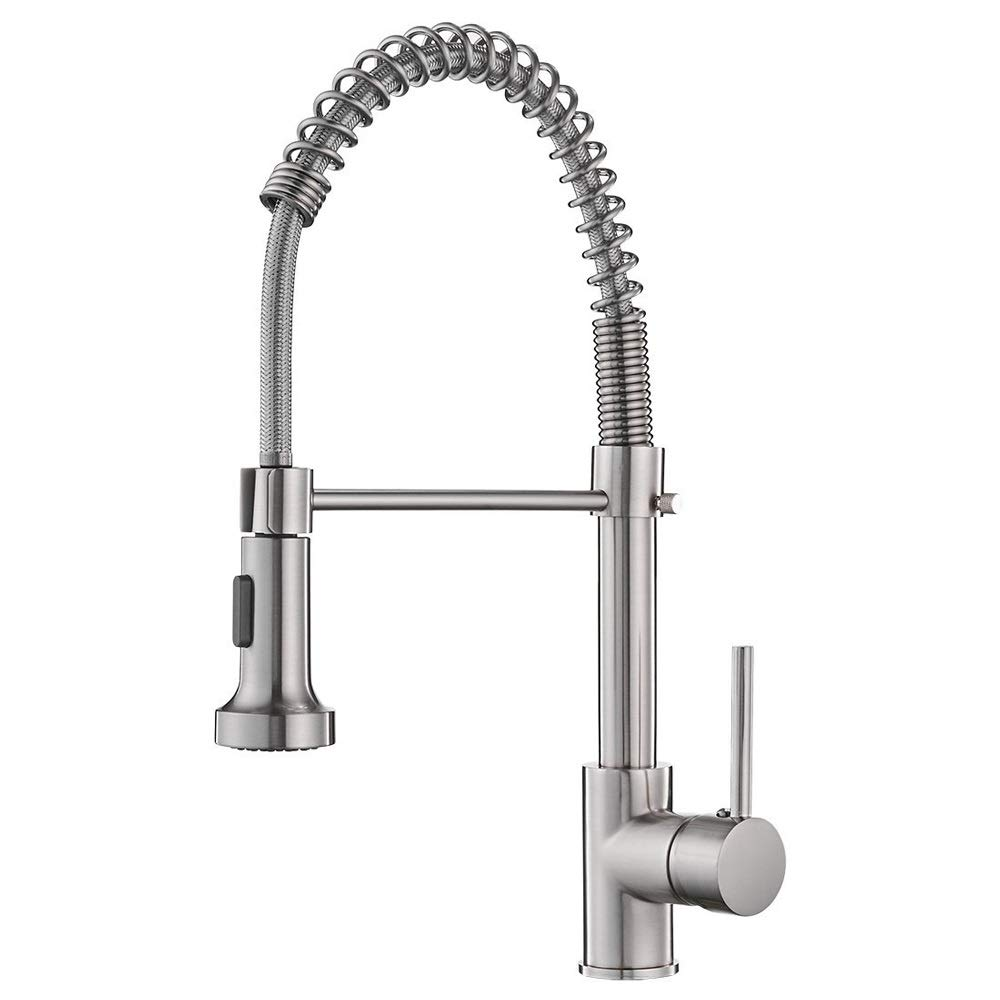 Magosca 360 Degree Free Rotation Kitchen Faucets Brush Brass Faucets For Kitchen Sink Single Lever Pull Out Spring Spout Mixers Tap Hot Cold Water Crane Splash Prevention