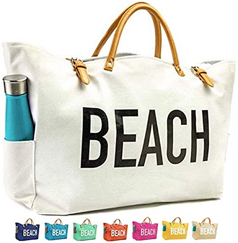 KEHO Large Canvas Beach Bag Travel Tote (White), Waterproof Lining, 3 Pockets, FREE Phone -