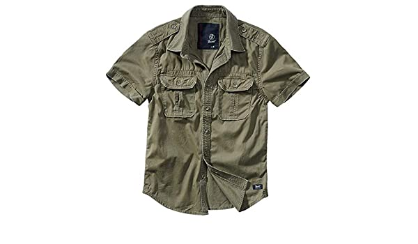 Brandit - Camisa retro de manga larga y manga corta, varios colores, tallas S a 7XL Olive, Manches Courtes 3XL: Amazon.es: Ropa y accesorios
