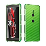 DAMONDY Sony Xperia XZ2 Case, Luxury Carbon Fiber Design Ultra thin Imitation Metal Brushed Premium Aluminum Shockproof Protective Bumper Hard Back Case Cover for Sony Xperia XZ2-Green