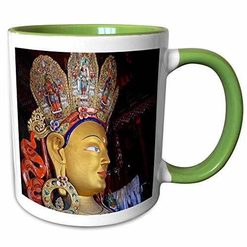 3dRose Danita Delimont - India - India, Ladakh, Maitreya Buddha, Thiksey Monastery - AS10 AAS0072 - Anthony Asael - 15oz Two-Tone Green Mug (mug_132530_12)