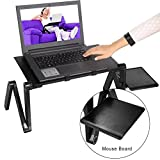 Benlet 360° Adjustable Portable Aluminum Laptop Stand/Desk/Table With Mouse Board Pad, Ergonomic Design for Using in Bed, Office, Sofa (Black1)