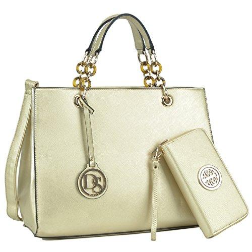 (Womens Large Top Handle Handbag Structured Tote Bag Designer Shoulder Bag w/Matching Wallet )