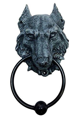WOLF MOONLIT GARGOYLE DOOR KNOCKER METAL RING KNOCKER BALL (Faux Metal Ball)
