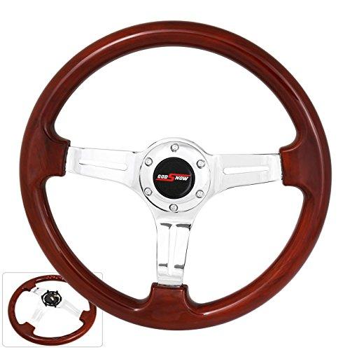 Universal 350MM 6 Bolt Hole Heavy Duty Light Weight Steering Wheel Wood Trim Chrome Center Streak Design Godsnow Button Horn