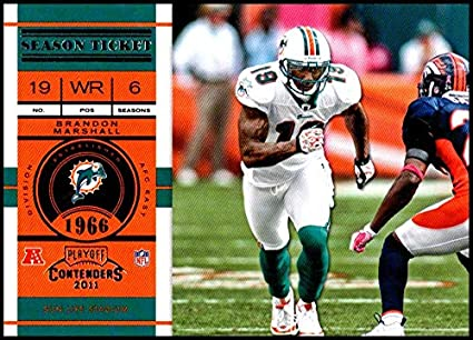 2011 Playoff Contenders Season Tickets  4 Brandon Marshall NM-MT Miami  Dolphins Official NFL 7d0afdf90