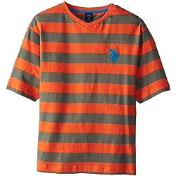 U.S. Polo Assn. Big Boys' Short Sleeve V-Neck Stripe T-Shirt