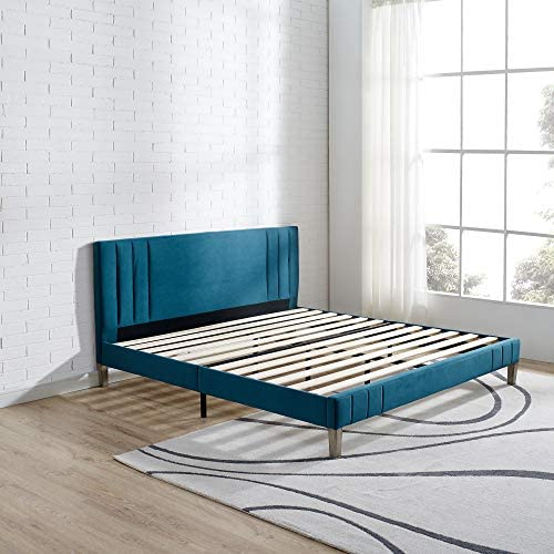 Classic Brands DeCoro Chicago Channel Tufted Upholstered Platform Bed Headboard and Wood Frame with Wood Slat Support, King, Antonio Juniper
