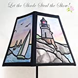 Hand Painted Fabric Lampshade of Castle Hill Lighthouse in Newport RI simulated stained glass