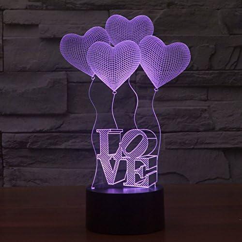 Olayer Kreative 3d Led Lampe Illusion Nachtlicht 3d Schriftzug Love Und Herzen Acryl Mit Farbwechsel Amazon De Kuche Haushalt