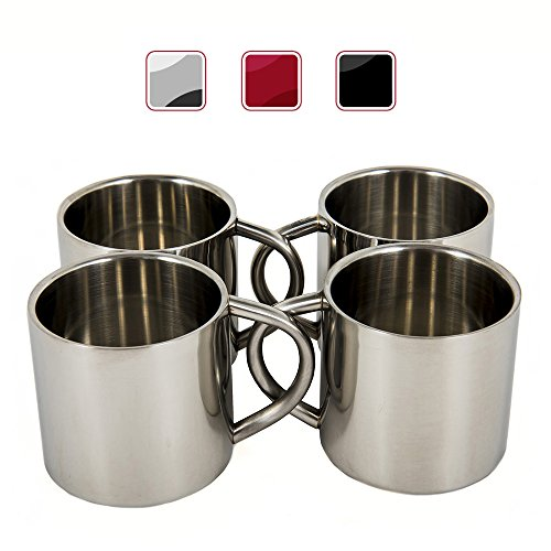 Stainless Steel Espresso Cup - Silver Stainless Steel Double Wall Espresso Cups, XL, Set of 4