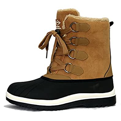 Men's Beige Warm Fur Winter Snow Lace up Waterproof Rubber Boots (10 D(M) US)