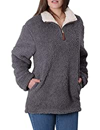 Fleece Sherpa Pullover Womens Sweatshirt Long Sleeve Soft Fuzzy Outwear Sweater Jacket 1/4 Zip Hoodie Coat with Pockets