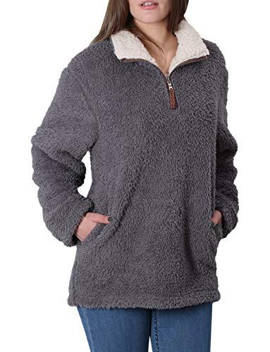 Fleece Sherpa Pullover Womens Sweatshirt Long Sleeve Soft Fuzzy Outwear Sweater Jacket 1/4 Zip Hoodie Coat with Pockets Dark Grey S