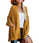 GRAPENT Women's Open Front Cable Knit Casual Sweater Cardigan Loose Outwear Coat