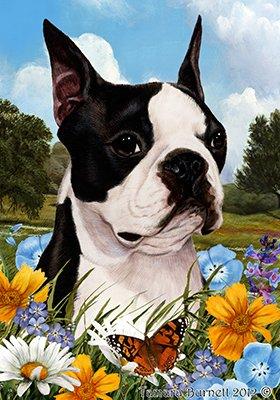 Best of Breed Boston Terrier Summer Flowers Garden Flags