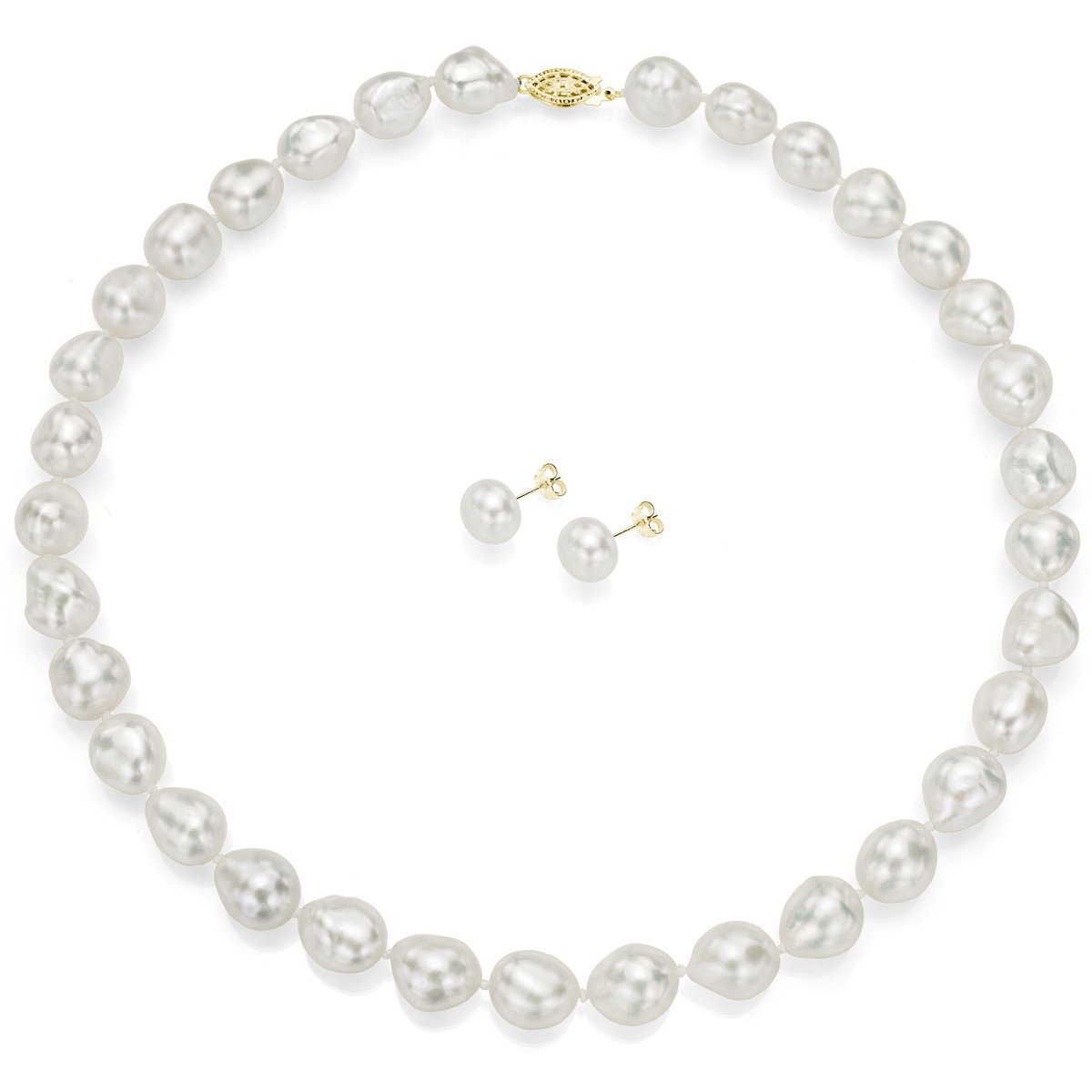 14k Yellow Gold 11-11.5mm White Baroque Freshwater Cultured Pearl Necklace 18'' and Stud Earrings Set