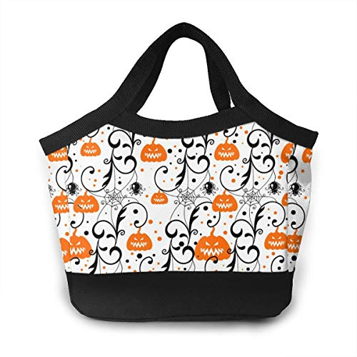 NOWDIDA Lunch Bag Insulated Lunch Box Tote Bag Large Drinks Holder Durable Thermal Snacks Organizer for Women Men Adults College Work Picnic Hiking Beach Fishing - Happy Halloween Party Pumpkin