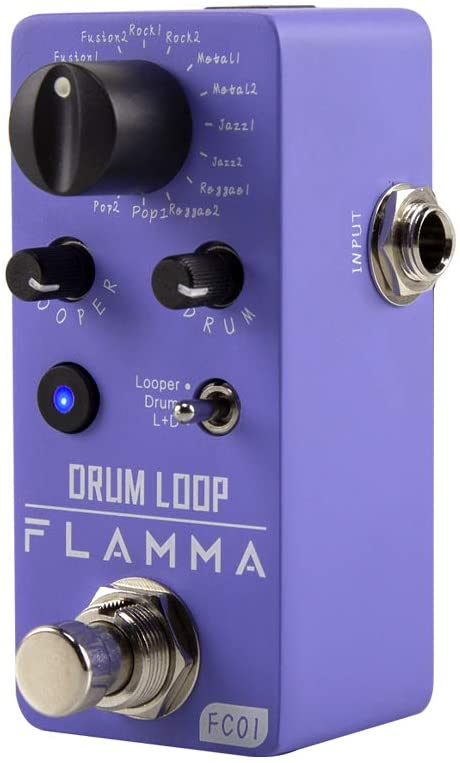 FLAMMA FC01 Mini Guitar Pedal Drum Machine & Phrase Loop Pedal Effects Pedal With 20 Minutes Recording 16 Drum Grooves Tap Tempo Playback Level Control