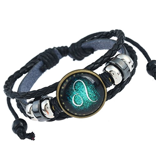 12+Constellation+Bracelet+Men+Women+Braided+Leather+Bracelets+%26+Bangles+%28Leo%29