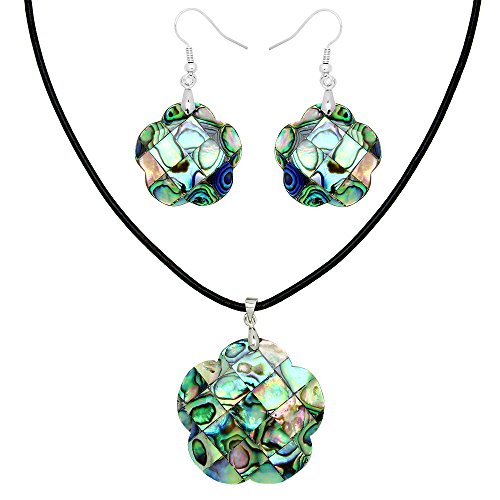 Falari Green Abalone Shell Necklace Earring Set (Flower) S0107 (Shell Necklace Flower Pearl Earring)