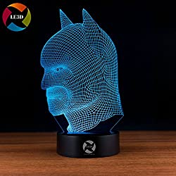 3D Optical Illusion Night Light - 7 LED Color Changing Lamp - Cool Soft Light Safe For Kids - Solution For Nightmares - DC Comics Justice League Batman Mask