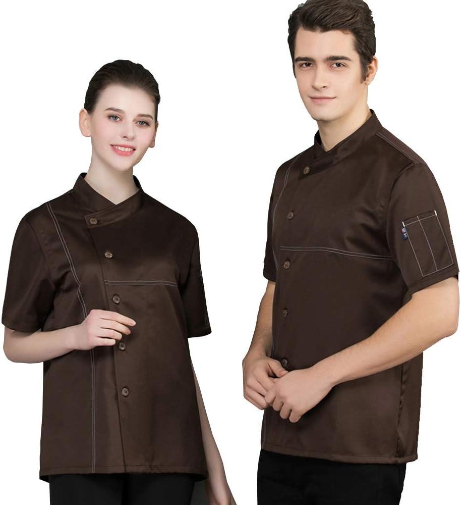 AXIN&F Camisa de Chef Cocina Manga Corta para Verano para Hombres y Mujeres Chaqueta de Cocinero Camarero Diseño Clástico Transpirable y Cómodo,Marrón,M: Amazon.es: Deportes y aire libre
