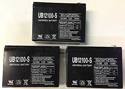 12V 10AH Replacement for WP10-12SE WP1012 Sealed Lead Acid Portable Battery - 3 Pack