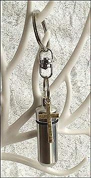 KGS zeitlose Gedenkstätten Salbölhalter mit Innenfläschchen, goldenem Kreuzanhänger und freier Pipette zum Befüllen. Ätherisc
