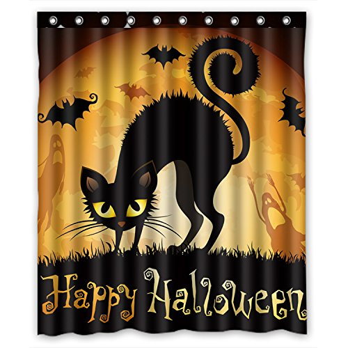FMSHPON Happy Halloween Black Cat Bat All Saints Day Ghost Moon Waterproof Polyester Fabric Bath Shower Curtain 60x72 Inches (Shower Rings Included)