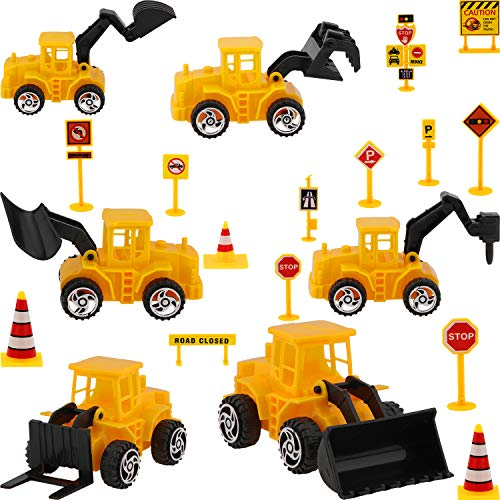 Construction Vehicle Cake Decoration Set, Include 6 Pieces Construction Vehicle Cupcake Toppers and 14 Pieces Road Sign Cupcake Toppers for Birthday Cake Decoration