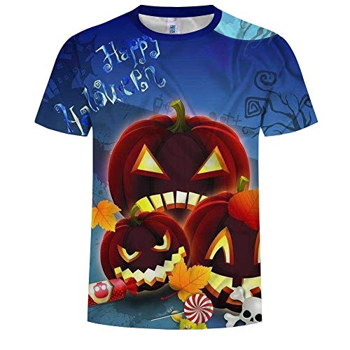 EbuyChX Summer Fashion Men's Short Sleeve T-Shirt 3D Halloween Pumpkin Head Di Blue S -