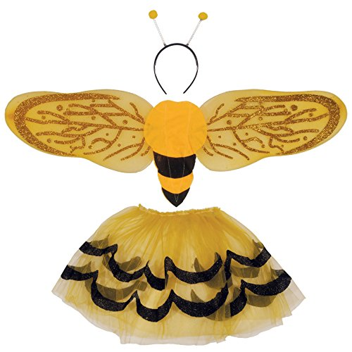 Loftus International Bumblebee Wings Skirt Headband 3Pc Girls Costume Set, Yellow Black, One-Size Novelty Item