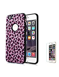 For iPhone 6 Plus/6S Plus Case [with Free Screen Protector],Funyee New Creative Leopard Print Plush Flexible Soft TPU Silicone Shockproof Ultra Thin Durable Phone Case for iPhone 6 Plus/6S Plus,Pink