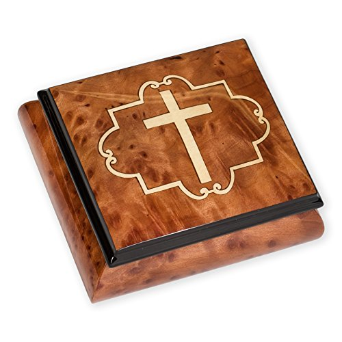 Christian Cross Olmo Elm Wood Italian Inlaid Wood Jewelry Music Box Plays Ave Maria by Splendid Music Box Co.