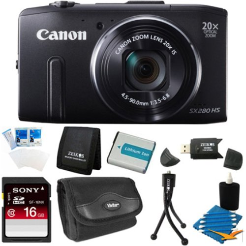 Canon PowerShot SX280 HS 12.1 MP CMOS Digital Camera with 20x Image Stabilized Zoom 25mm Wide-Angle Lens and 1080p Full-HD Video (Black) Pro Package With 16gb card , case , cleaning kit , tripod , spare battery