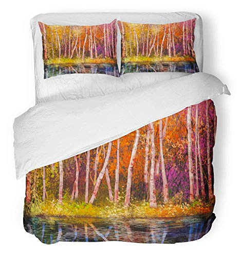 3 Piece Duvet Cover Set Breathable Brushed Microfiber Fabric Oil Painting Landscape Colorful Autumn Trees Semi Abstract of Forest Bedding Set with 2 Pillow Covers Twin Size ()