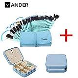 32pcs Vander Professional Soft Vander SCI Cosmetics Blue Eyebrow Shadow Makeup Brush Set Kit + Pouch Bag+1 Jewelry box travel storage case organizer for earring ring (Blue brushes+1 blue jewelry box)