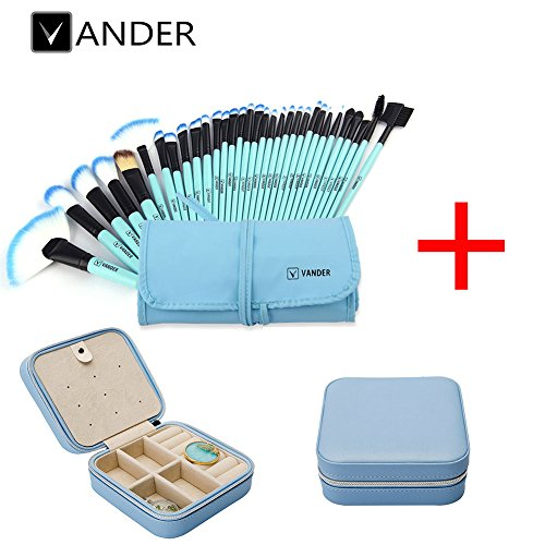32pcs Vander Professional Soft Vander SCI Cosmetics Blue Eyebrow Shadow Makeup Brush Set Kit + Pouch Bag+1 Jewelry box travel storage case organizer for earring ring (Blue brushes+1 blue jewelry box) by Vander