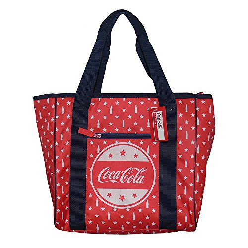 Forever Collectibles Red Insulated Coca-Cola Cooler Bag Tote Bag with Bottles and Stars (12 Can) (Collectible Cola Coca)