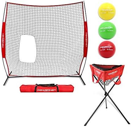 PowerNet Batting Practice Bundle – Protection Screen for Softball Baseball Pitching Zippered Ball Caddy 3pk Progressive Training Balls