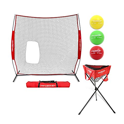 PowerNet 7x7 Pitch-Thru Protection Screen Bundle for Softball w/ Zippered Ball Caddy + 3pk Progressive 3.2