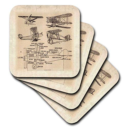 - 3dRose Early 1900S Sketch of Airplanes - Soft Coasters, Set of 4 (CST_62138_1)