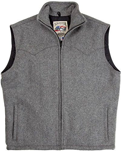 (Schaefer Outfitter Men's Heather Grey Arena Melton Wool Vest 2XL Grey XX-Large)